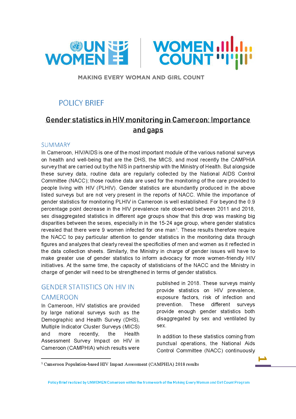 Cameroon HIV policy brief cover