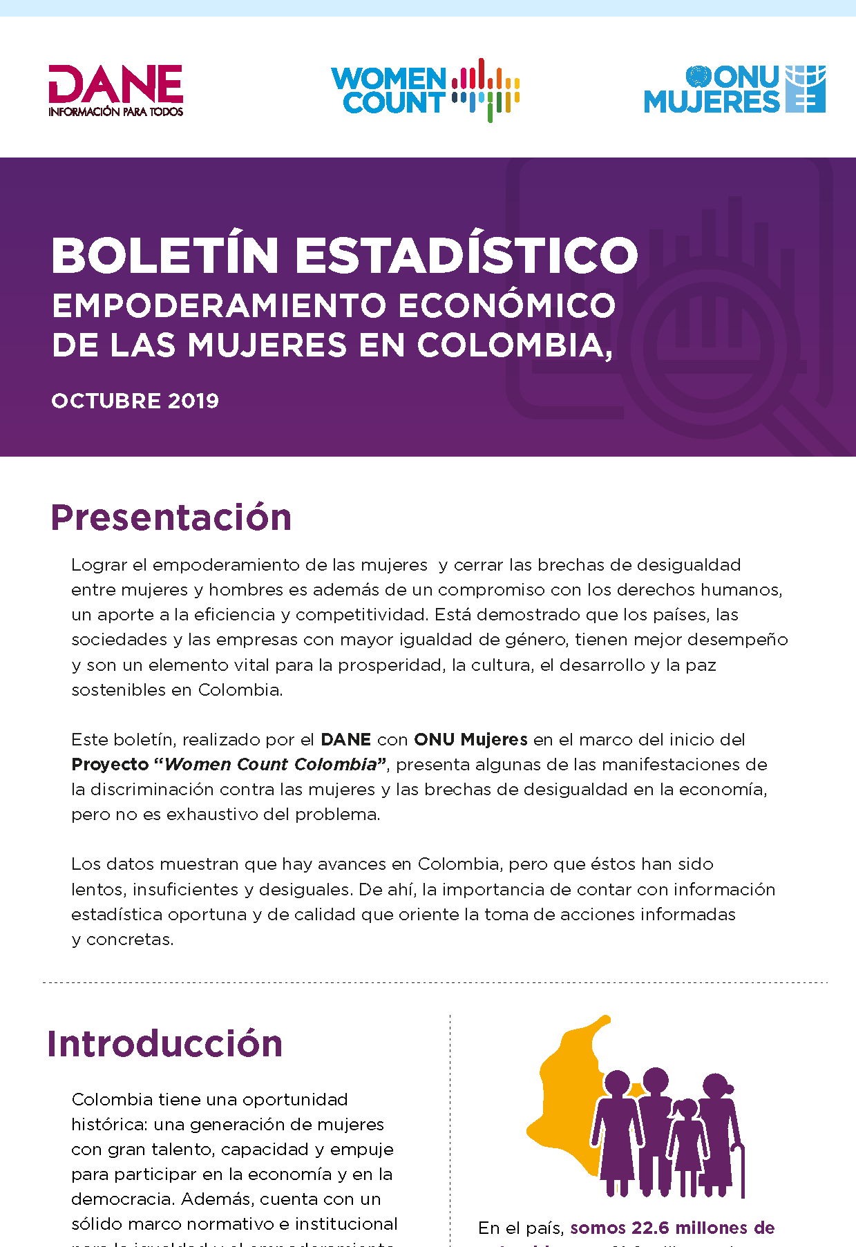 Statistical bulletin: women's economic empowerment in Colombia