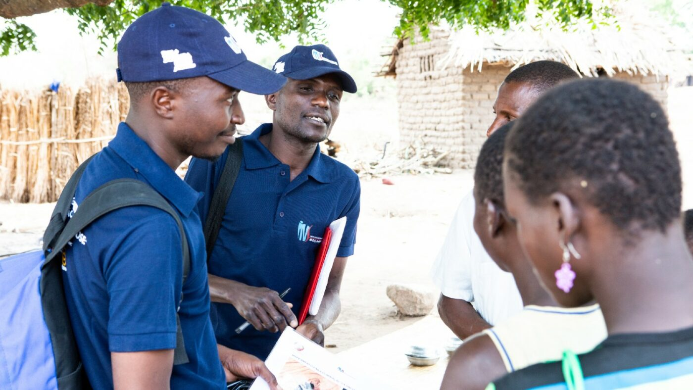 Micheque Nhambazi (left) and Bencio Mizinho (right) conduct house-to-house surveys in Mozambique, as part of a programme to combat river blindness. It's important to gather survey data from marginalized groups. Photo: Alyssa Marriner/Sightsavers 2019