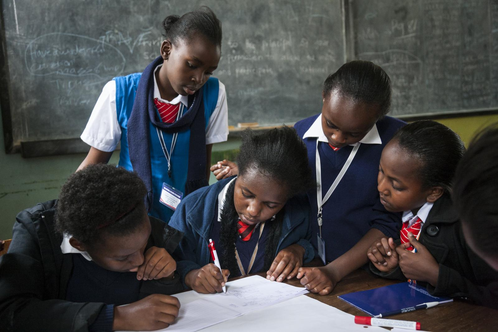 Students draw their school during the 2nd Annual National Children's Government Congress, Nairobi, Kenya, June 14, 2015. Photo: UNICEF/Adriane Ohanesian